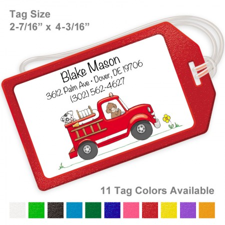 Monkey Fire Truck Luggage Tag