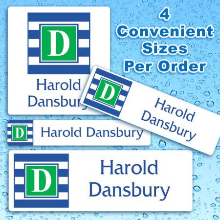 Monogram 16 Waterproof Name Labels For Kids