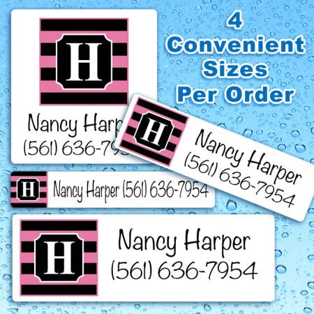 Monogram 4 Waterproof Name Labels For Kids