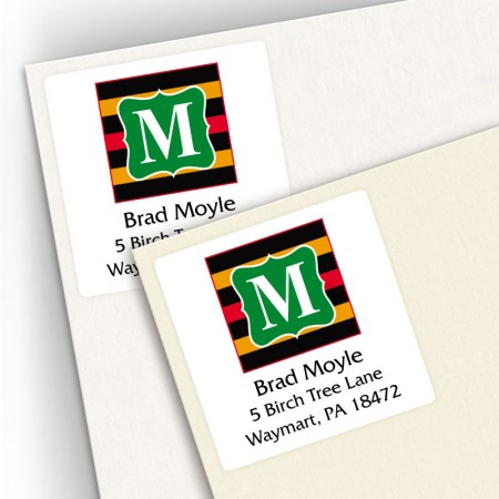 Monogram Square Address Labels 12