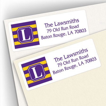 Monogram Address Label School Colors 11