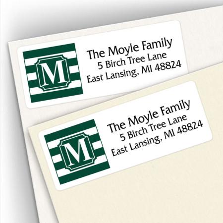 Monogram Address Label School Colors 12