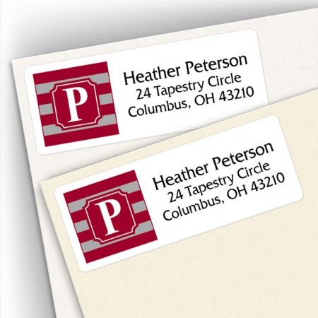 Monogram Address Label School Colors 13