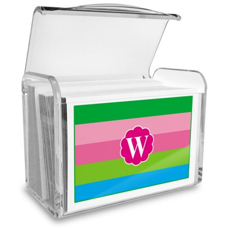 Monogram Fold Over Note Cards 15 with Acrylic Holder