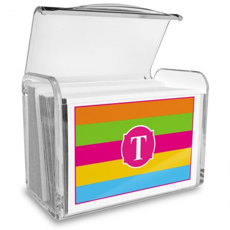Monogram Fold Over Note Cards 17 with Acrylic Holder
