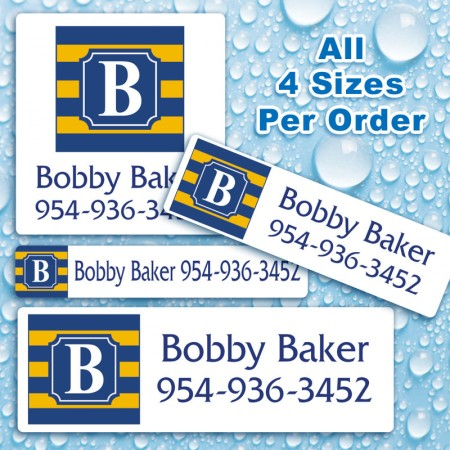 Monogram School Colors 18 Waterproof Name Labels For Kids