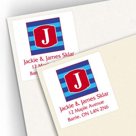 Monogram Square Address Labels 10