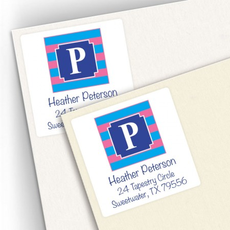 Monogram Square Address Labels 13