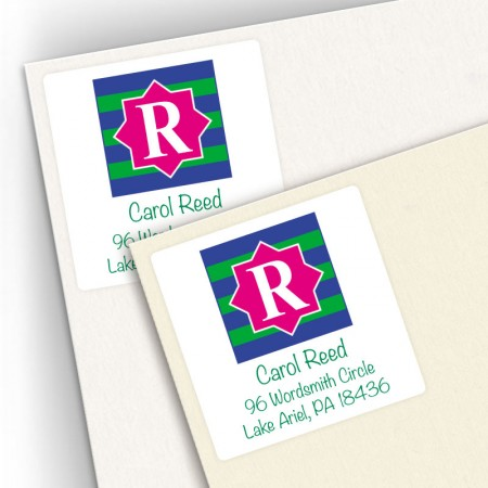 Monogram Square Address Labels 14