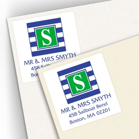 Monogram Square Address Labels 16