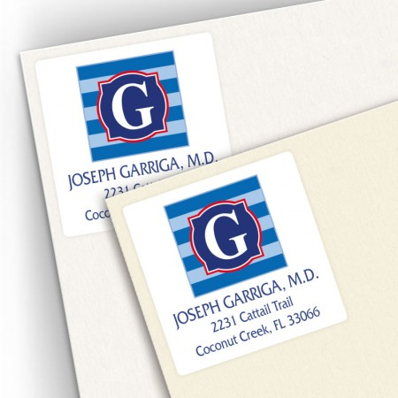 Monogram Square Address Labels 7