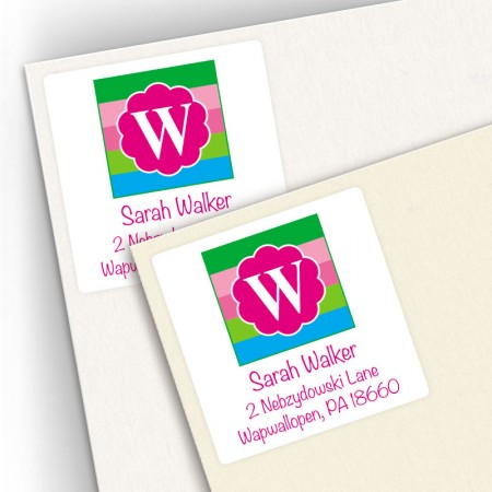Monogram Square Address Labels 15