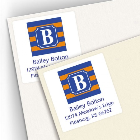Monogram Square Address Labels School Colors 1