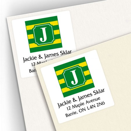 Monogram Square Address Labels School Colors 10