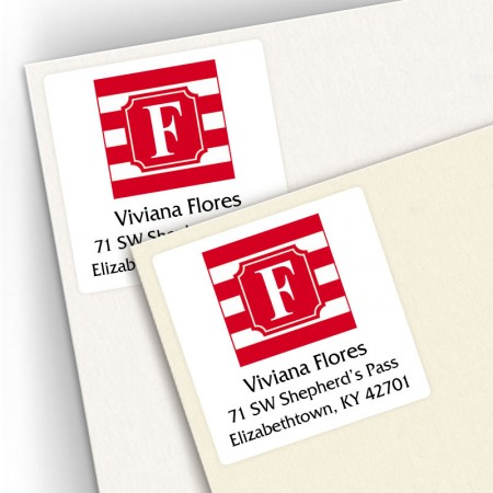 Monogram Square Address Labels School Colors 6