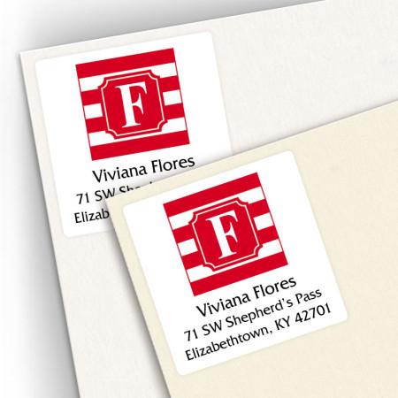 Monogram Square Address Labels School Colors 6