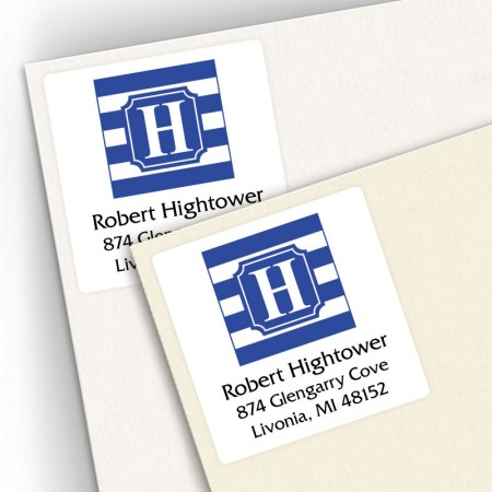 Monogram Square Address Labels School Colors 8