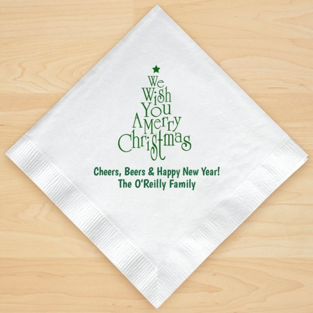 Christmas Tree Design 1 Personalized Christmas Lunch-Dinner Napkins