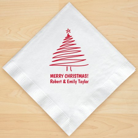 Christmas Tree Design 2 Personalized Christmas Lunch-Dinner Napkins