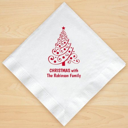 Christmas Tree Design 5 Personalized Christmas Lunch-Dinner Napkins