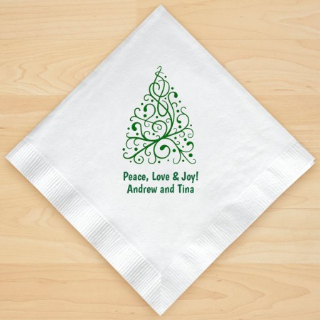 Christmas Tree Design 7 Personalized Christmas Lunch-Dinner Napkins