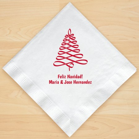 Christmas Tree Design 8 Personalized Christmas Lunch-Dinner Napkins