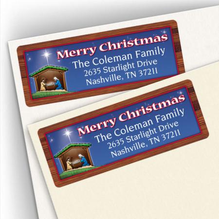 Nativity Merry Christmas Address Labels