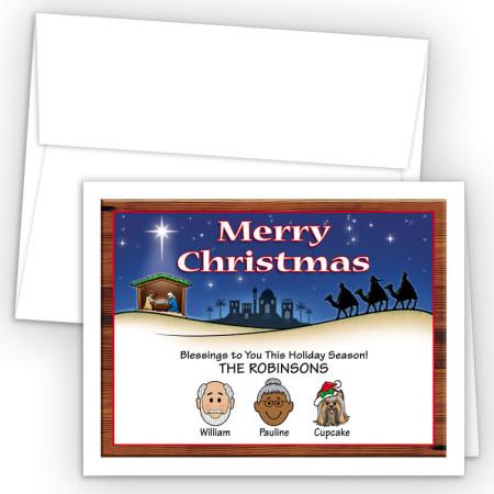 Nativity Merry Christmas Holiday Fold Note Head