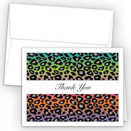 Neon Leopard Thank You Cards