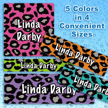 Neon Leopard Waterproof Name Labels For Kids
