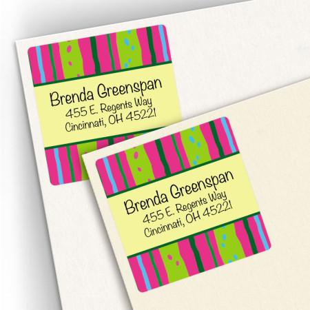 Neon Stripes Square Address Labels