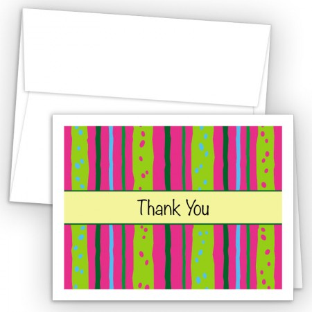 Neon Stripes Thank You Cards