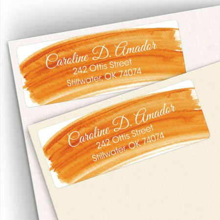 Orange Watercolor Address Labels