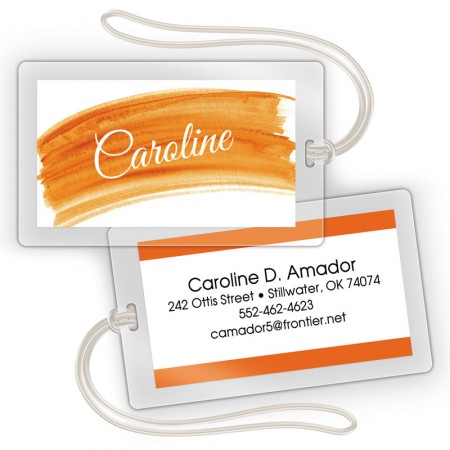 Orange Watercolor Laminated Bag Tags