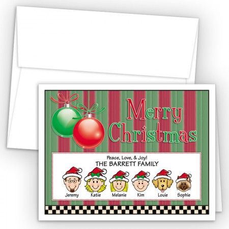 Ornaments 3 Merry Christmas Holiday Fold Note Head