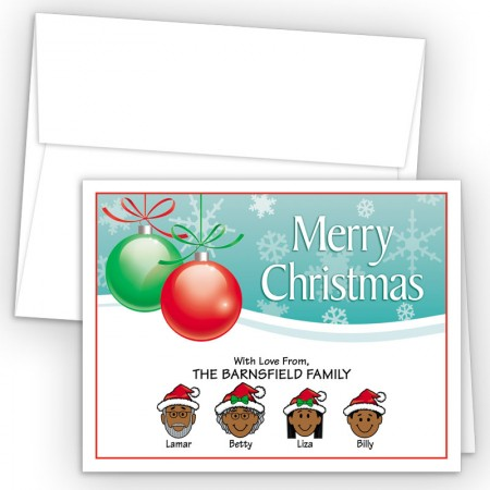 Ornaments 2 Merry Christmas Holiday Fold Note Head