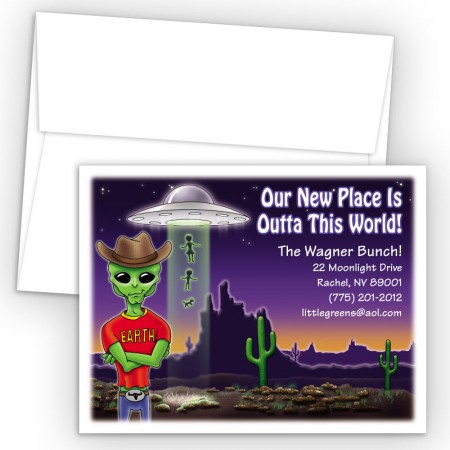 Outer Space UFO Moving Card