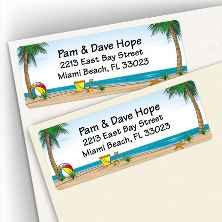 Palm Tree on Beach Address Labels