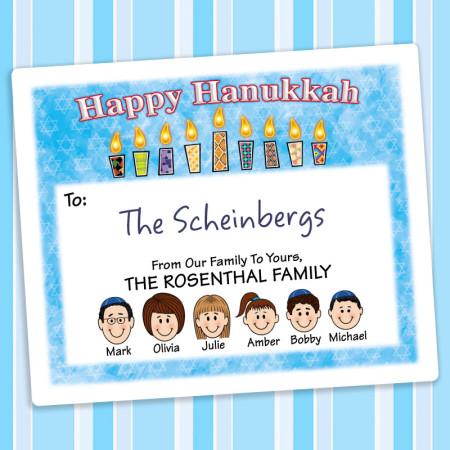 Pattern Candles 2 Hanukkah Gift Labels