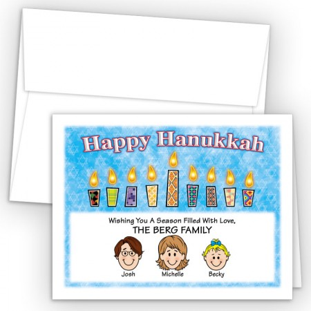 Pattern Candles 2 Happy Hanukkah Holiday Fold Note Head
