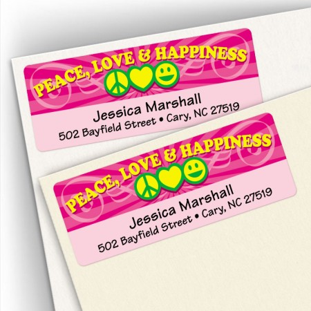 Peace Love Happiness Address Labels