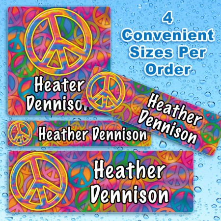 Peace Sign 2 Waterproof Name Labels For Kids