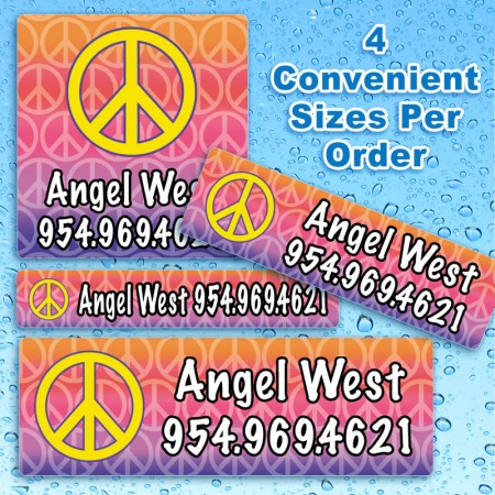 Peace Sign Waterproof Name Labels For Kids