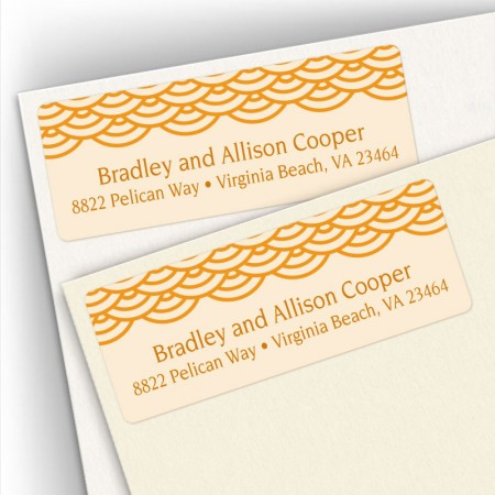 Peach Woodblock Pattern Address Labels