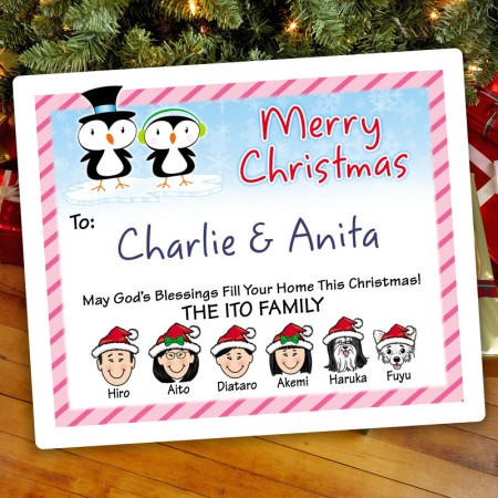 Penguin Couple Christmas Gift Label