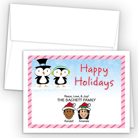 Penguin Couple Happy Holiday Fold Note