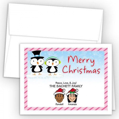 Penquin Couple Merry Christmas Holiday Fold Note Head