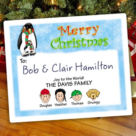 Penguin Parent Christmas Gift Label