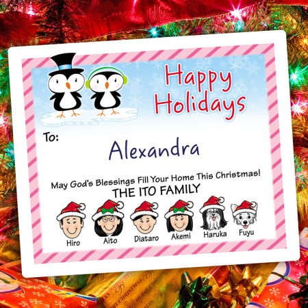 Penguin Couple Holiday Gift Labels