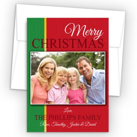 Photo Upload Linen Holiday Card